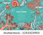underwater world hand drawn... | Shutterstock .eps vector #1253323903