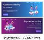 isometric illustration virtual... | Shutterstock .eps vector #1253344996