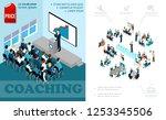 isometric business education... | Shutterstock .eps vector #1253345506