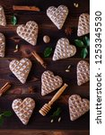 gingerbread hearts with spices  ... | Shutterstock . vector #1253345530