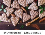 gingerbread hearts with spices  ... | Shutterstock . vector #1253345533