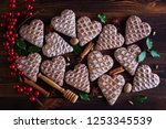 gingerbread hearts with spices  ... | Shutterstock . vector #1253345539