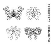 abstract calligraphic butterfly ... | Shutterstock .eps vector #1253358853