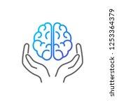 brain in hands vector icon... | Shutterstock .eps vector #1253364379