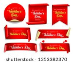 valentines day banners set.... | Shutterstock .eps vector #1253382370