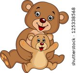 mother and baby bear cartoon | Shutterstock . vector #125338568
