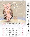calendar for november 2019 ... | Shutterstock .eps vector #1253394580
