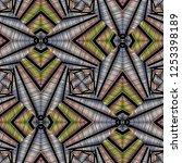 grunge textured geometric... | Shutterstock .eps vector #1253398189