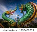 naga or serpent statue in wat... | Shutterstock . vector #1253402899