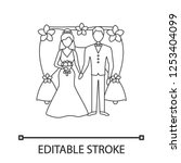 bride and bridegroom linear... | Shutterstock .eps vector #1253404099