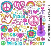 peace love and a dove flower... | Shutterstock .eps vector #125341646
