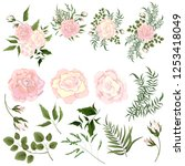 set of vector bouquets of pink... | Shutterstock .eps vector #1253418049