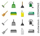 isolated object of cleaning and ... | Shutterstock .eps vector #1253445463