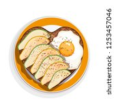 sandwich with egg and avocado... | Shutterstock .eps vector #1253457046