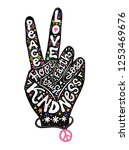 peace sign creative lettering... | Shutterstock .eps vector #1253469676
