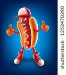 hot dog mascot   Shutterstock .eps vector #1253470390