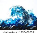 beautiful ocean wave. acrylic...   Shutterstock . vector #1253483059