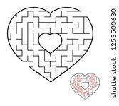 abstract heart shaped labyrinth.... | Shutterstock .eps vector #1253500630