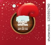 vector red santa hat with... | Shutterstock .eps vector #1253501740