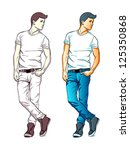 cool fashion young man in jeans ... | Shutterstock .eps vector #125350868