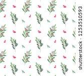 watercolor christmas seamless... | Shutterstock . vector #1253510593