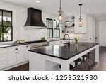 beautiful kitchen in new luxury ... | Shutterstock . vector #1253521930