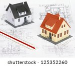 model house on a construction... | Shutterstock . vector #125352260