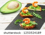 appetizer of bread with seeds ... | Shutterstock . vector #1253524189