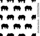 seamless pattern black bear... | Shutterstock .eps vector #1253532586