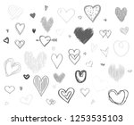 hand drawn hearts on white... | Shutterstock . vector #1253535103