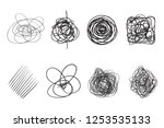 tangled shapes on white. chaos... | Shutterstock . vector #1253535133