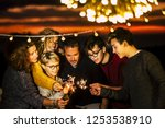 group of friends celebrate... | Shutterstock . vector #1253538910