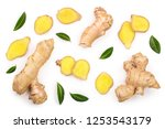 fresh ginger root and slice... | Shutterstock . vector #1253543179