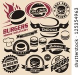 burger icons  labels  signs ... | Shutterstock .eps vector #125354963