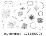 tangled shapes on white. hand... | Shutterstock . vector #1253550703