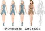 fashion girl set   vector | Shutterstock .eps vector #125355218