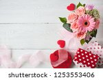 background with a bouquet of...   Shutterstock . vector #1253553406