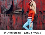 lifestyle fashion portrait of... | Shutterstock . vector #1253579086