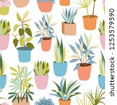 house plants seamless pattern | Shutterstock .eps vector #1253579590