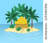 the island in the ocean with a... | Shutterstock .eps vector #1253582506