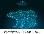 bear made by points and lines ... | Shutterstock .eps vector #1253582530