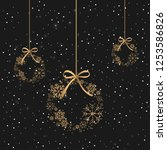 christmas background with ball... | Shutterstock .eps vector #1253586826