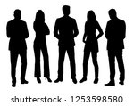 set of vector silhouettes of ... | Shutterstock .eps vector #1253598580