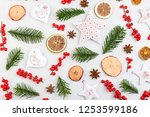 christmas composition. gifts ... | Shutterstock . vector #1253599186