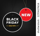 tag hanging and black friday... | Shutterstock .eps vector #1253619616