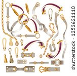 set of the belt elements  chain ... | Shutterstock .eps vector #1253621110