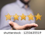 rating with star in hand | Shutterstock . vector #1253635519