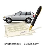 paperwork for car. illustration ... | Shutterstock .eps vector #125365394