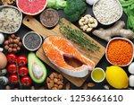 healthy food clean eating... | Shutterstock . vector #1253661610