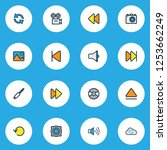 multimedia icons colored line... | Shutterstock .eps vector #1253662249